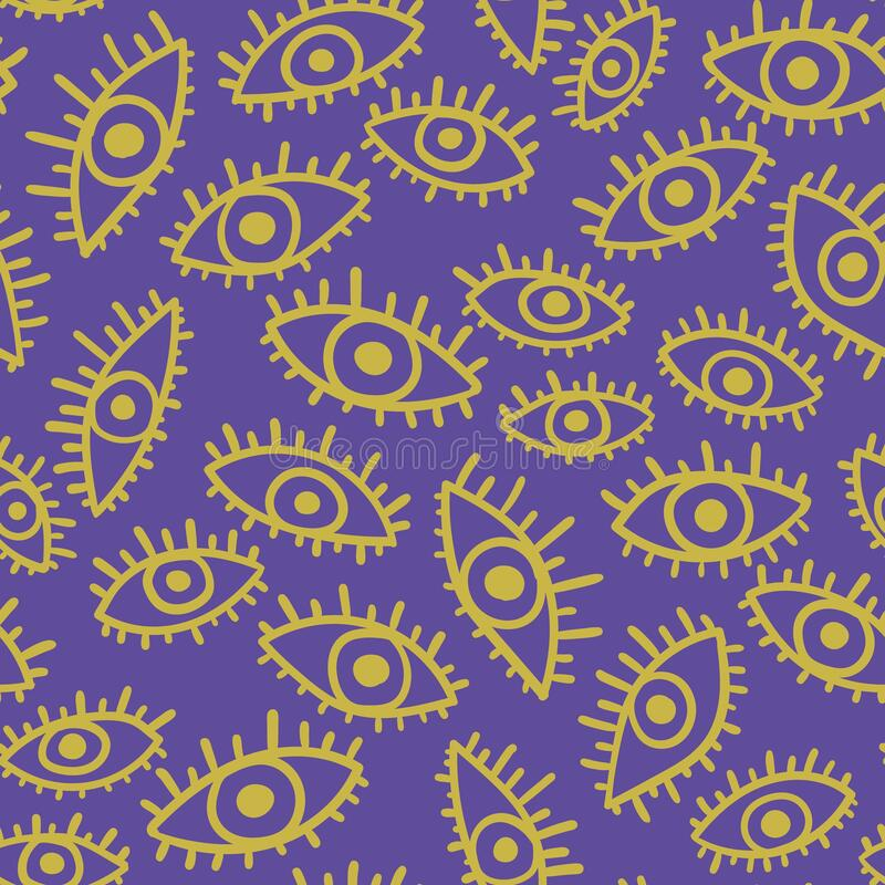 Seamless Pattern With Bright Eyes Stock Vector