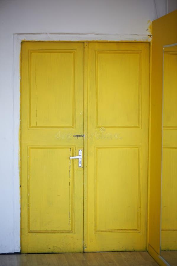 The Yellow Door In The Doorway, White Walls. Indoors. Interior Stock ...