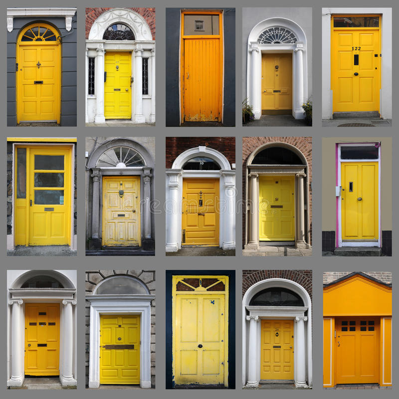 Yellow doors. Collage with yellow doors from ireland royalty free stock photo