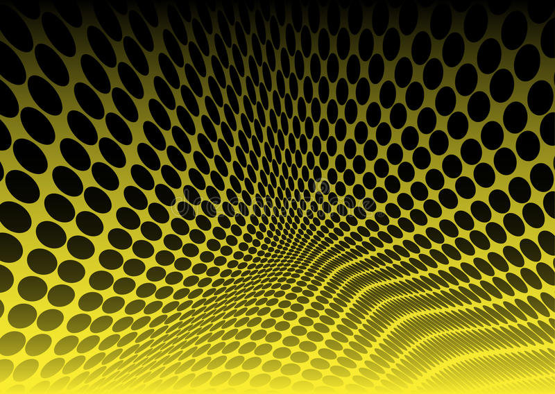 Yellow dots in abstract space stock photo
