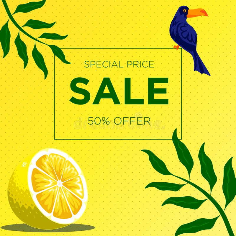 Yellow dotted texture with parrot bird, lemon slice and green leaf. Sale banner template design. 50% Big sale special offer. royalty free illustration