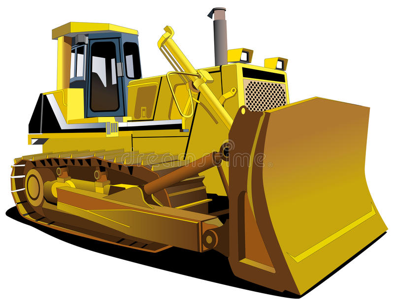 Yellow Dozer. Detailed ial image of track-type tractor isolated on white background vector illustration