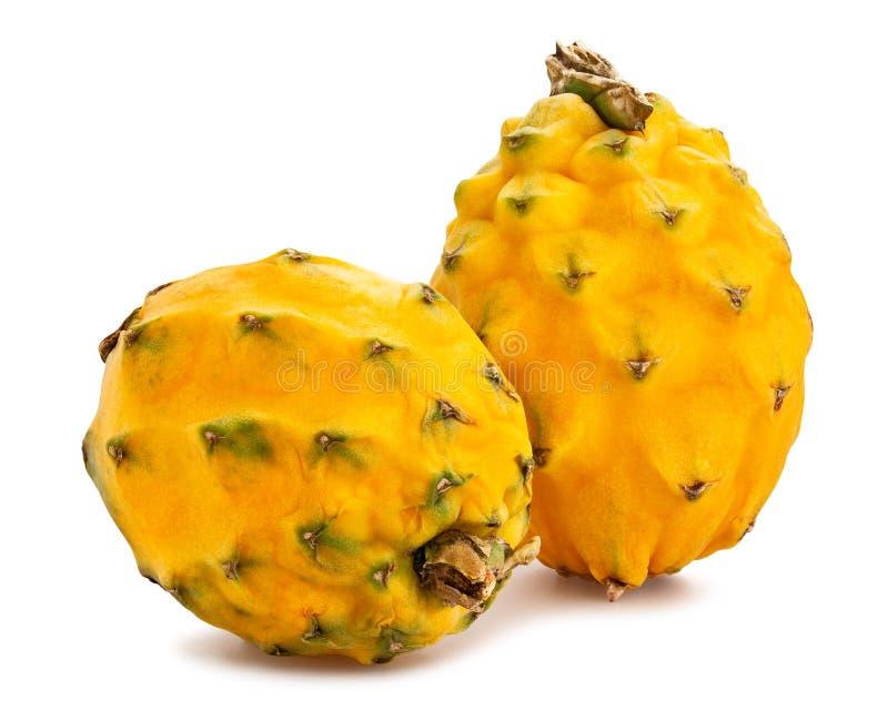 Yellow dragonfruit pitahaya. Path isolated on white stock photo