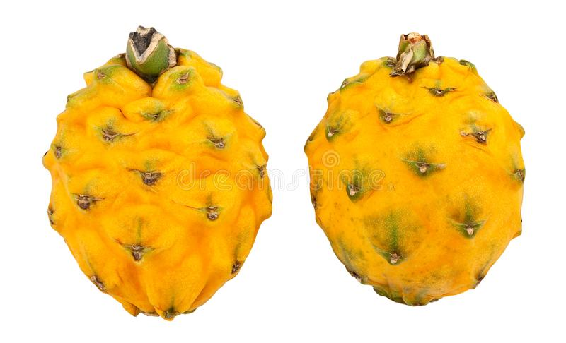 Yellow dragonfruit pitahaya. Path isolated on white royalty free stock photos