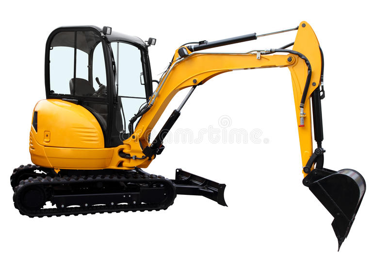 The yellow dredge. Isolated on a white background royalty free stock images