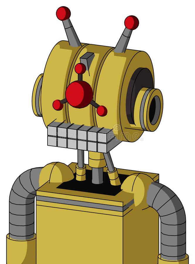 Yellow Droid With Multi-Toroid Head And Keyboard Mouth And Cyclops Compound Eyes And Double Led Antenna. Portrait style Yellow Droid With Multi-Toroid Head And vector illustration
