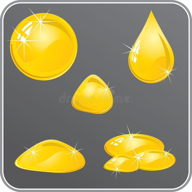 Yellow Drops Stock Vector. Illustration Of Gold, Juicy