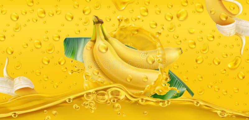 Yellow drops. Banana, tropical fruit. 3d vector stock photos