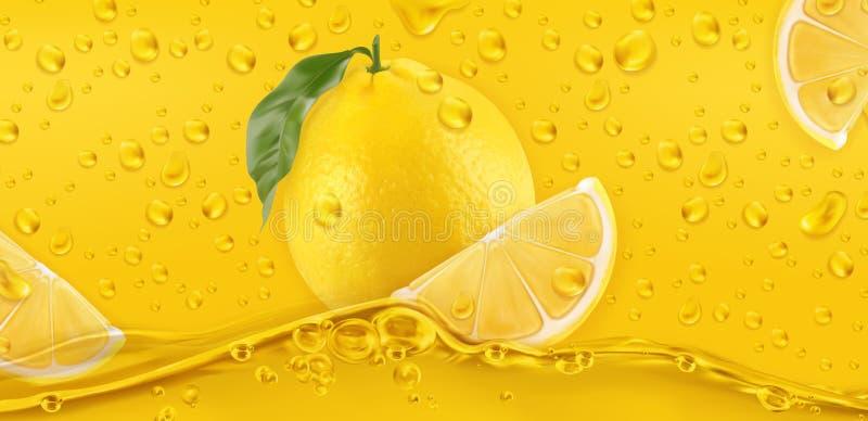Yellow drops. Lemon. 3d vector stock image