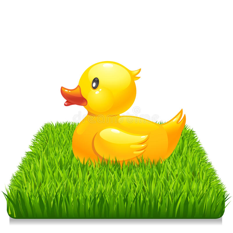 Yellow duck on fresh green grass 10eps. Yellow duck on fresh green grass isolated on white 10eps royalty free illustration