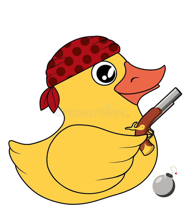 Yellow duck pirate bandit with pistol and bomb royalty free illustration