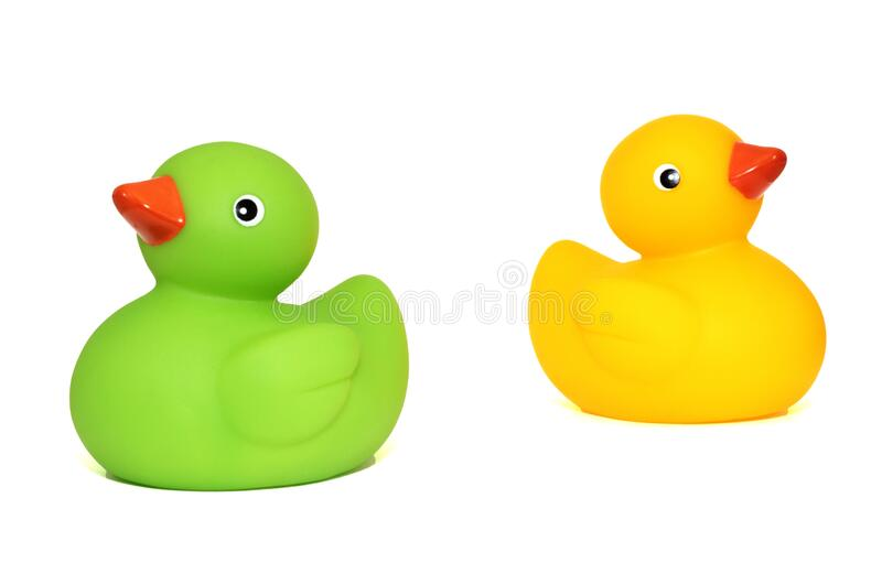 Yellow Duck Toy Beside Green Duck Toy stock photos