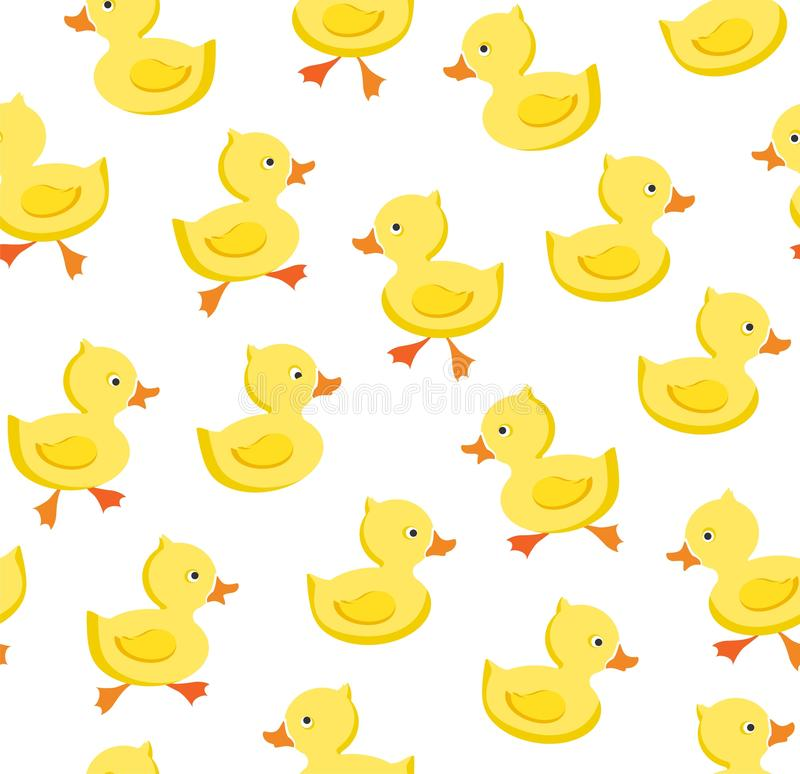 Ducklings, seamless pattern, color, white, vector stock illustration