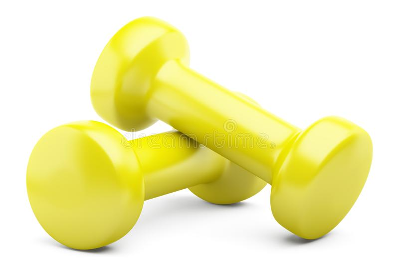 Yellow dumbbells isolated on white. Background vector illustration
