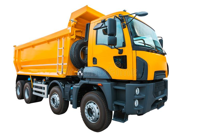 Yellow dump truck isolated on white background with clipping path stock photography