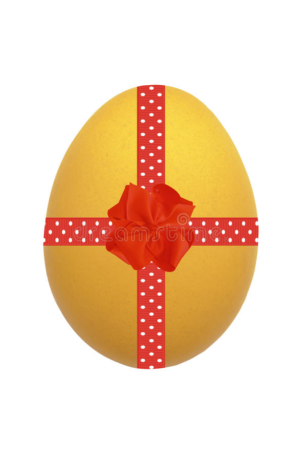 Yellow Easter egg with red ribbon and bow isolated on white stock photo