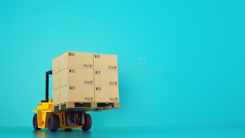 Electric yellow forklift loads a wooden pallet with boxes on cyan background. Yellow electric forklift loads a wooden pallet with boxes royalty free stock photography