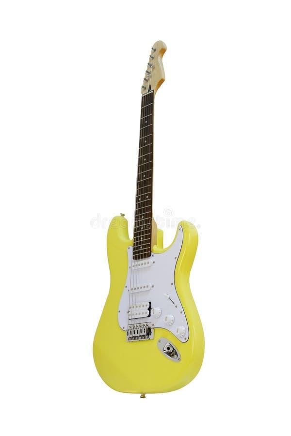 Yellow electric guitar stock image