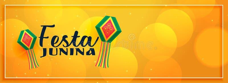 Yellow elegant festa junina banner design vector illustration