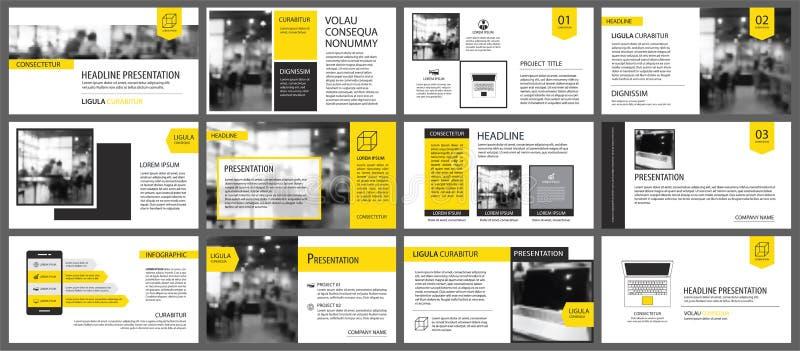 Yellow element for slide infographic on background. Presentation stock illustration