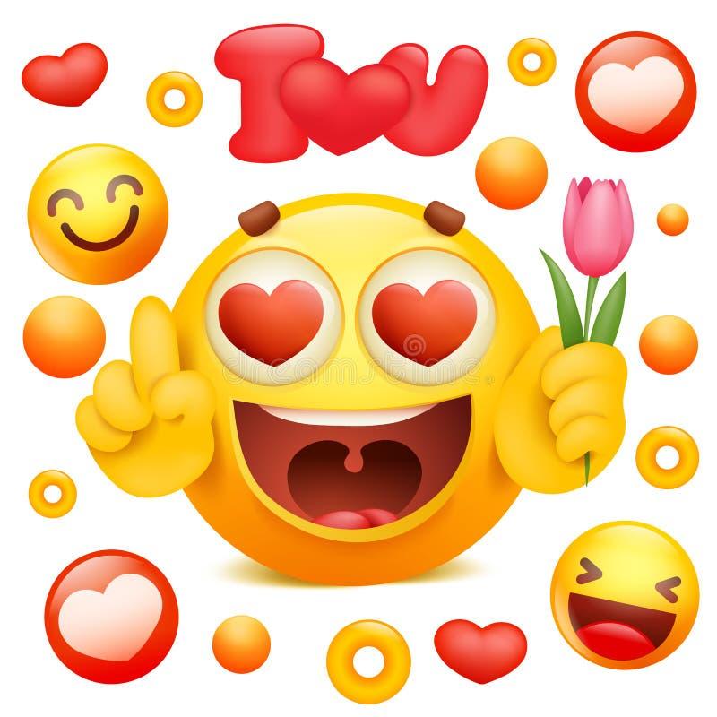 Yellow emoji 3d smile face cartoon character holding tulip flower stock illustration