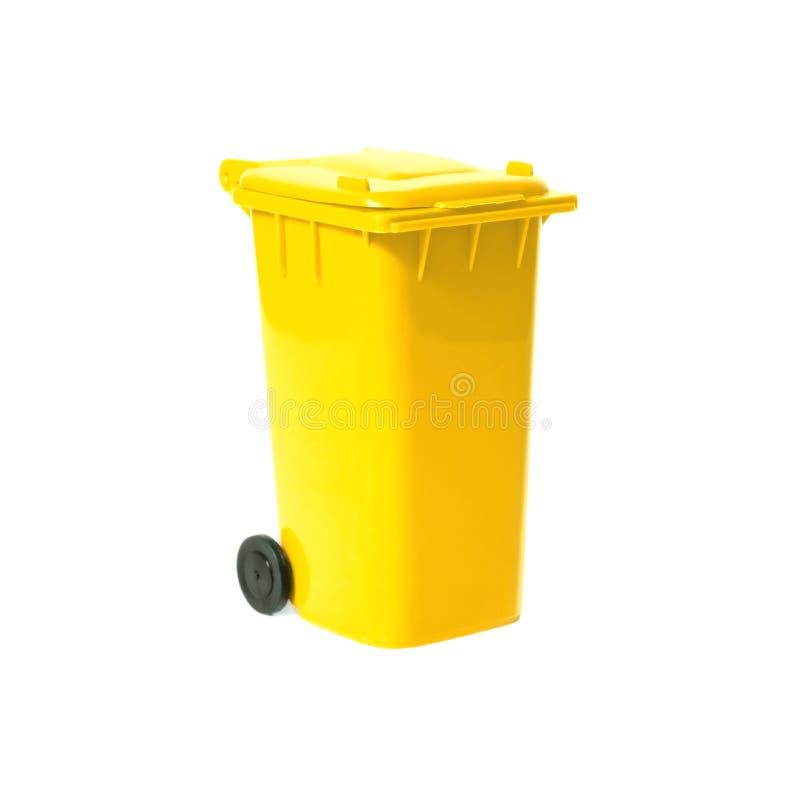 Yellow empty recycling bin stock photos