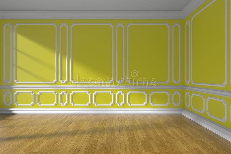 Yellow Empty Room With Molding And Parquet Floor Stock Illustration ...