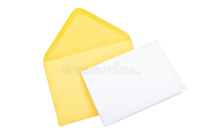 Yellow envelope with blank paper on a white background stock image