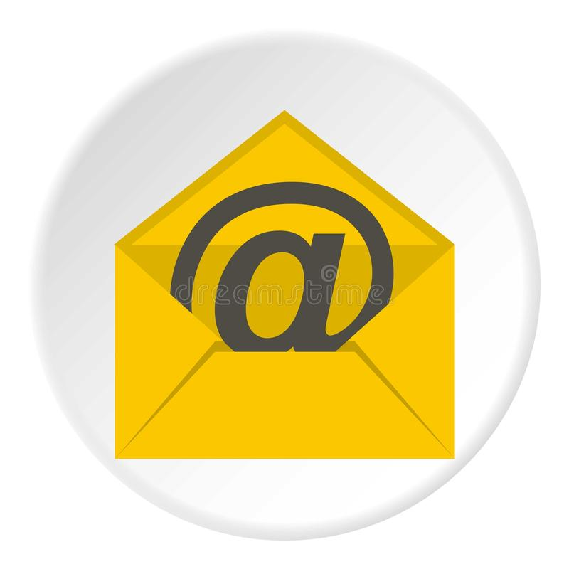 Yellow envelope with email sign icon circle vector illustration