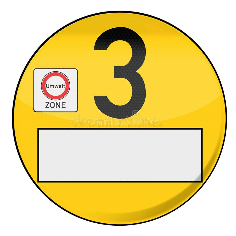 Yellow environmental badge number 3 yellow. Yellow environmental badge number 3 in yellow vector illustration