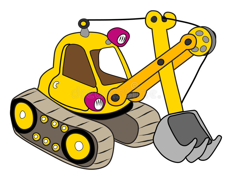 Yellow excavator stock illustration