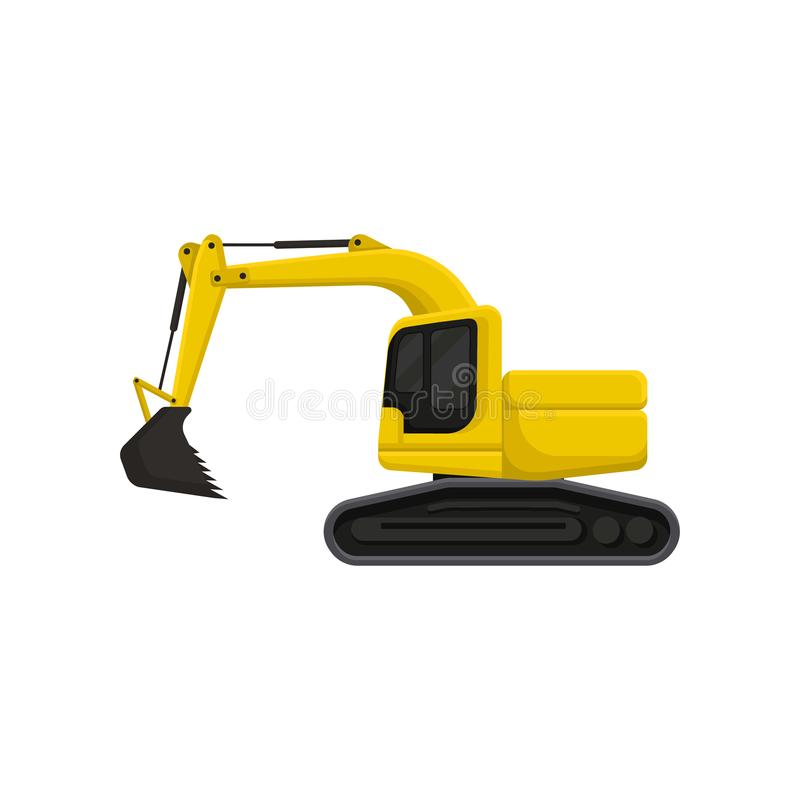 Yellow excavator with bucket and cab on rotating platform. Heavy digging machine on crawler tracks. Flat vector design. Yellow hydraulic excavator with bucket vector illustration