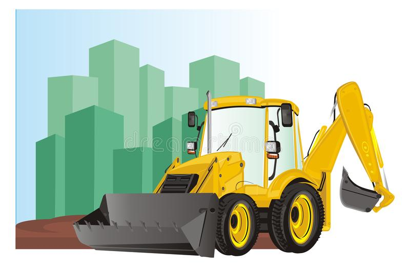 Excavator on the city. Yellow excavator on the building site of city vector illustration