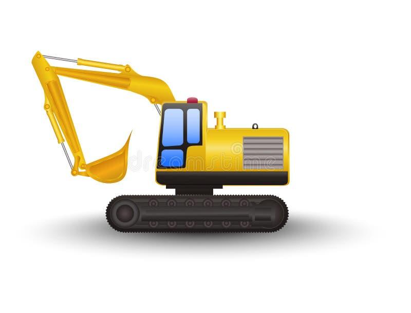 Yellow Excavator Cartoon stock illustration