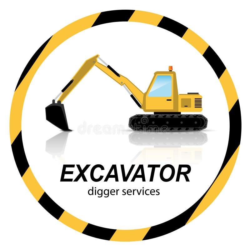 Yellow Excavator, digger machines on banner vector illustration