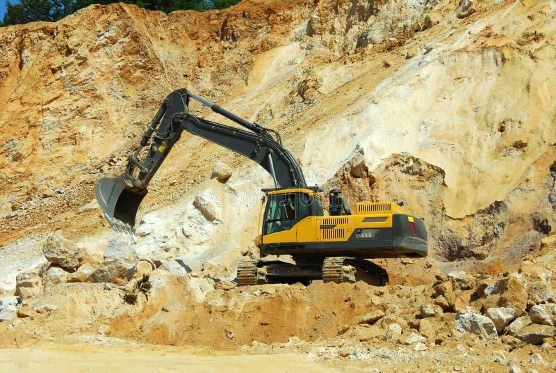 Yellow Excavator, Dredge Stock Images