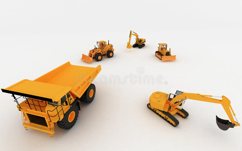 Yellow Excavator and Dump. Isolated on white royalty free illustration