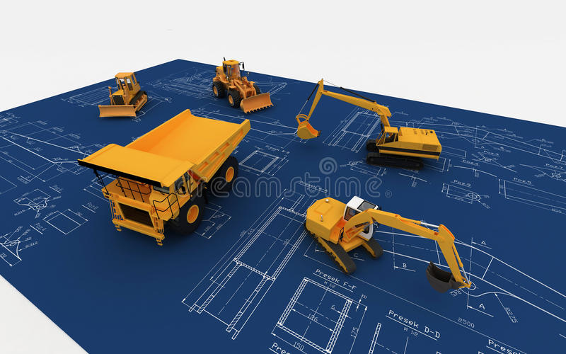 Download Yellow Excavator And Dump On Sketch Stock Illustration - Image: 11776644