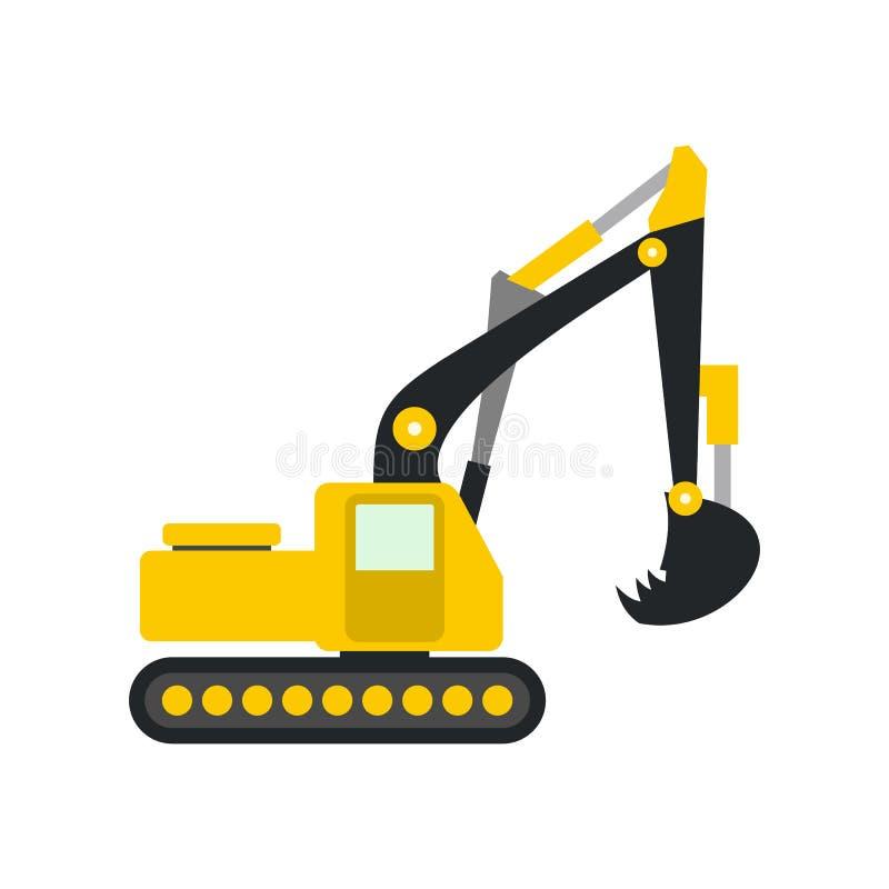 Yellow excavator flat icon. Isolated on white background royalty free illustration