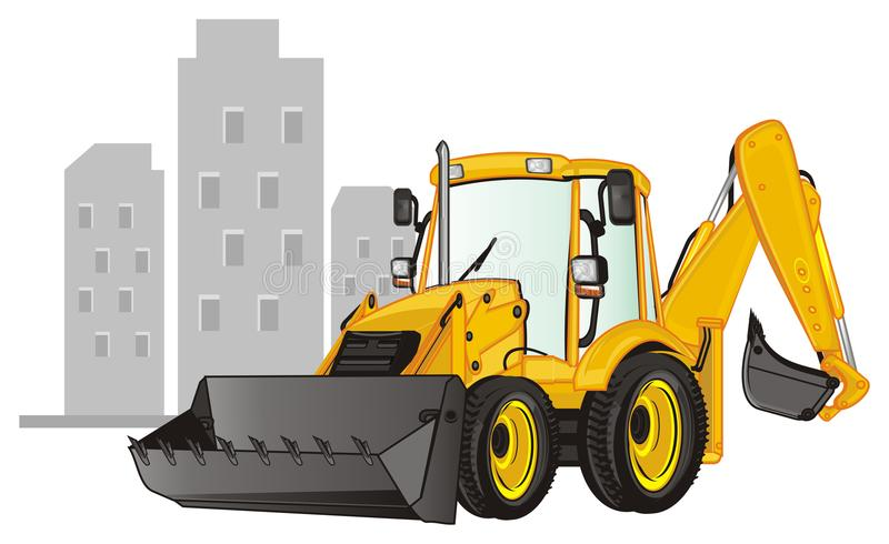 Excavator and houses. Yellow excavator and gray sahdows of houses vector illustration