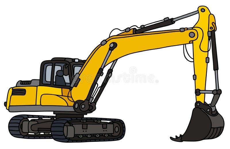 Yellow excavator. Hand drawing of a yellow big excavator vector illustration