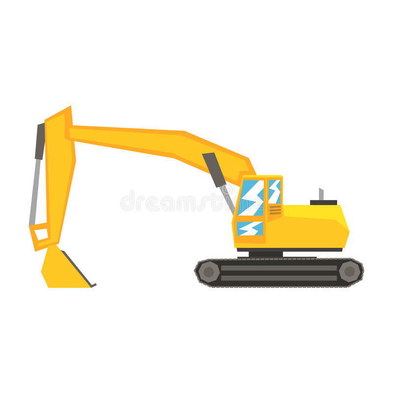 Yellow excavator, heavy industrial machinery, construction equipment vector Illustration. On a white background royalty free illustration