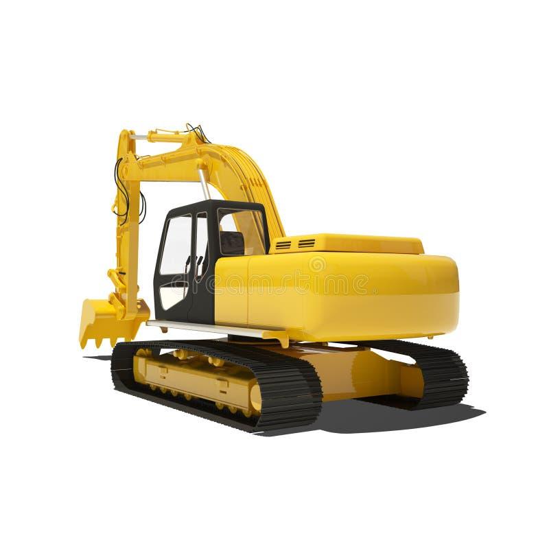 Yellow Excavator Isolated. On white royalty free illustration