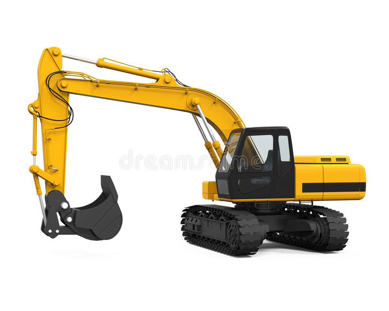 Yellow Excavator Isolated. On white background. 3D render royalty free illustration