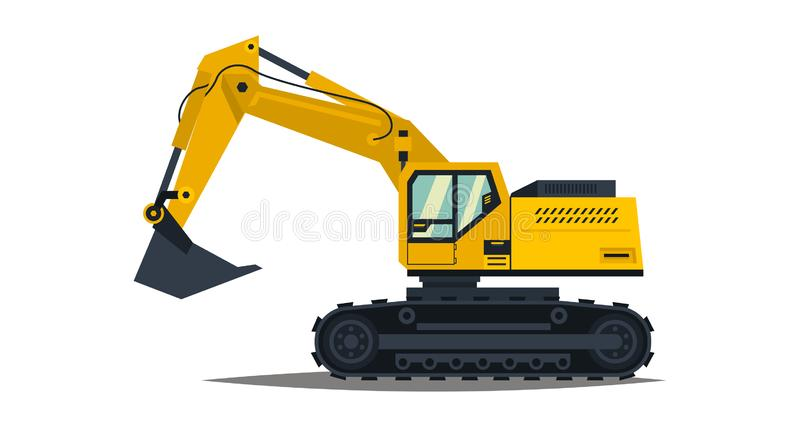 Yellow excavator. Isolated on white background. Special equipment. Construction machinery. Vector illustration. Yellow excavator. Isolated on white background royalty free illustration