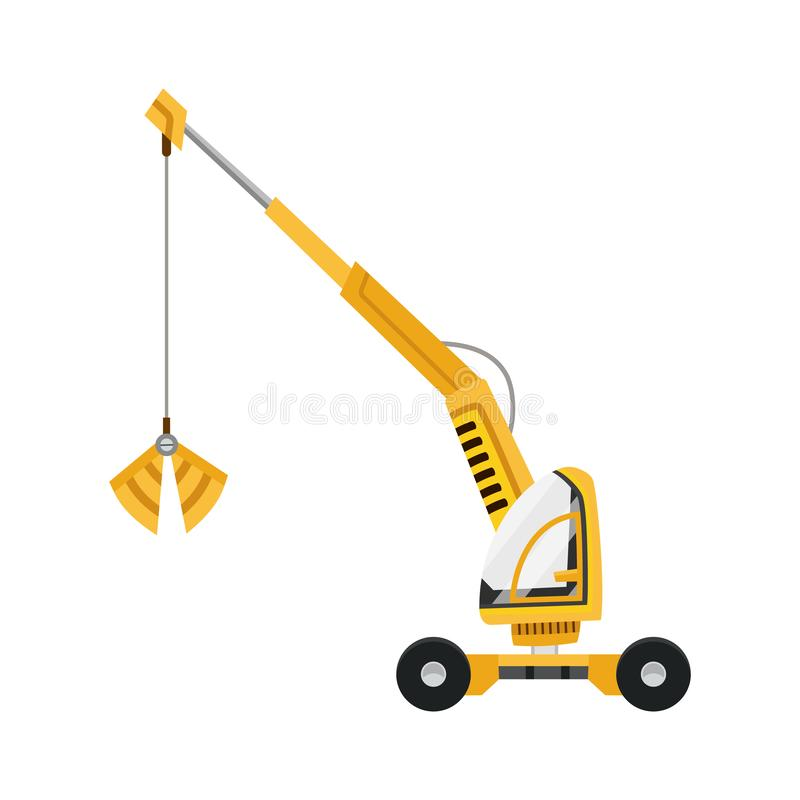 Yellow excavator. Isolated on white background. Special equipment. Construction machinery. Vector illustration. Yellow excavator. Isolated on white background vector illustration