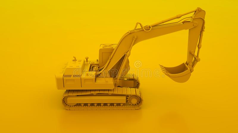 Yellow Excavator isolated on yellow background. 3d illustration.  stock illustration