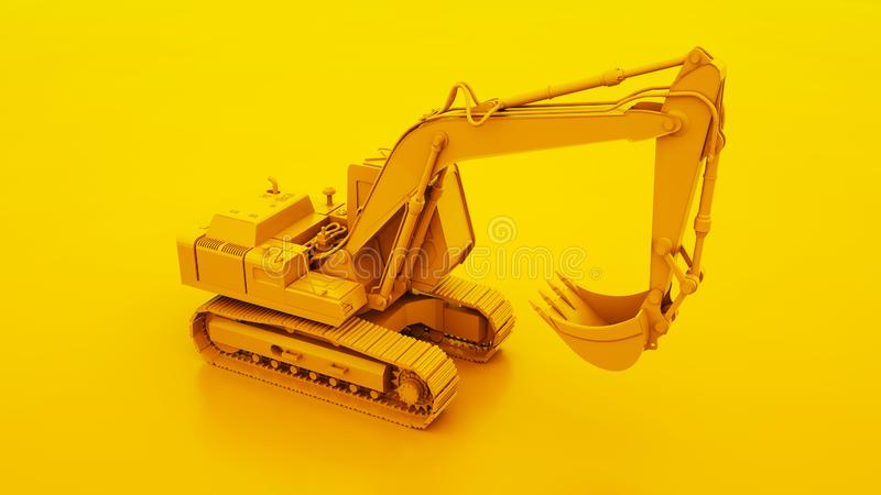 Yellow Excavator isolated on yellow background. 3d illustration.  vector illustration