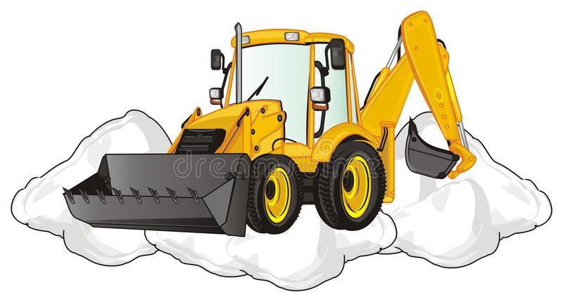 Excavator and large heap. Yellow excavator on the middle of heap of snow royalty free illustration