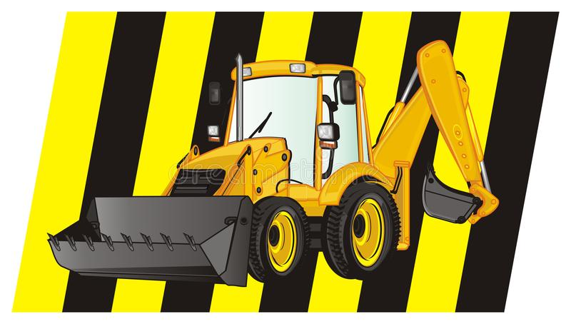 Excavator and large ribbon. Yellow excavator on the middle of yellow and black ribbon stock illustration